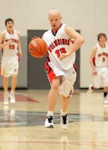 Zac Trim dribbling down the court at Truckee High School