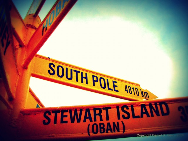 Directional Marker for South Pole & Stewart Island in New Zealand