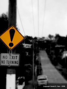No Exit No Turns Sign on Baldwin Street in NZ