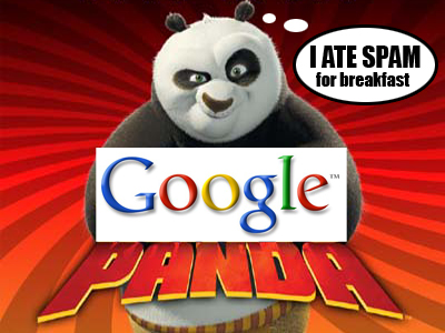 Kung Fu Panda and Google Logo saying I ate Spam for Breakfast