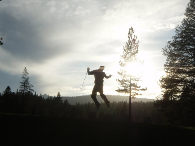 Andrew Herr Happy Jump at Martis Camp Golf Course