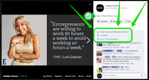 Example of Engaging Facebook Content - Lori Greiner Project Vesto