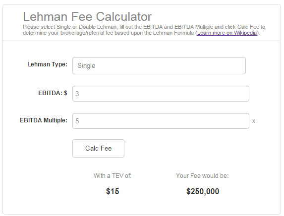Link to Lehman Fee Calculator by Dan Herr